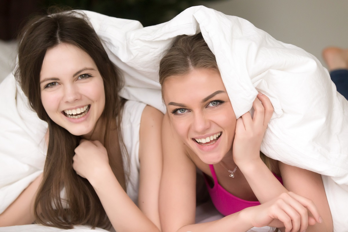 Girlfriends have fun on home pajamas party
