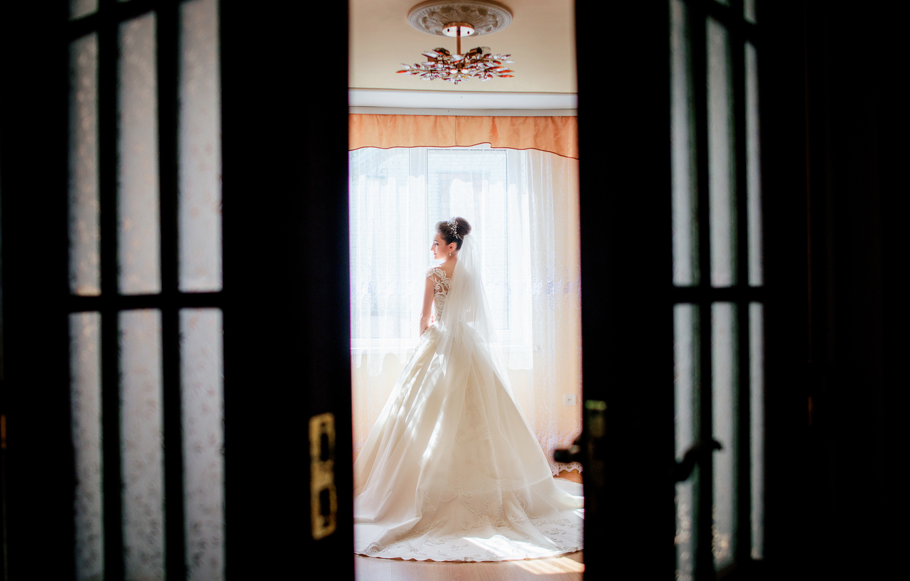 A bride in her bridal suite